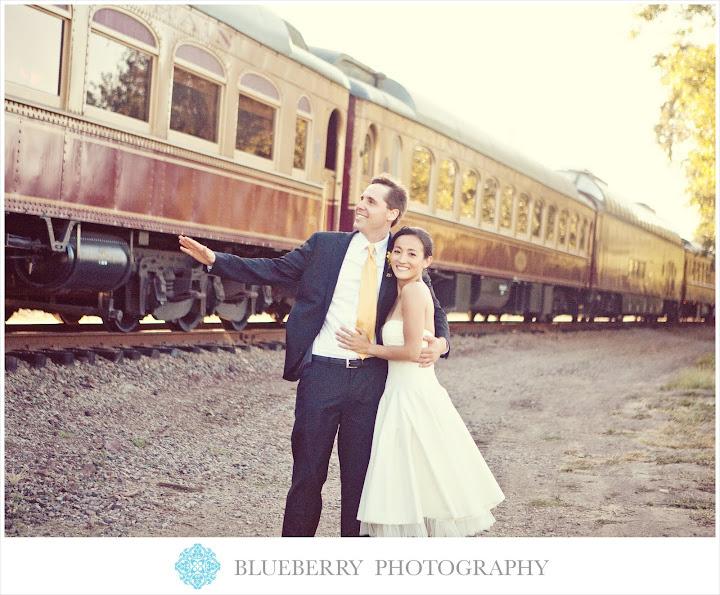 napa outdoor wedding ceremony vineyard railroad train