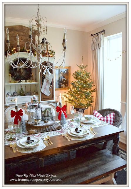 Farmhouse Christmas Dining Room- French Country- Christmas Vignette-From My Front Porch To Yours