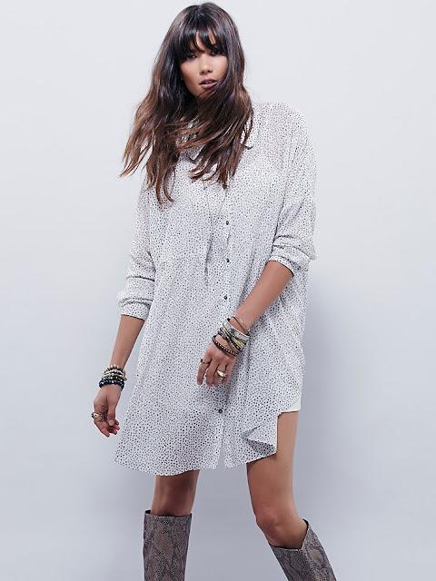 fp x shirt dress, free people shirt dress, white print shirt dress,