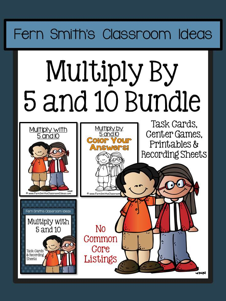 Fern Smith's Classroom Ideas Multiply with 5 and 10 Task Cards Recording Sheets & Centers Bundle with No common core listings