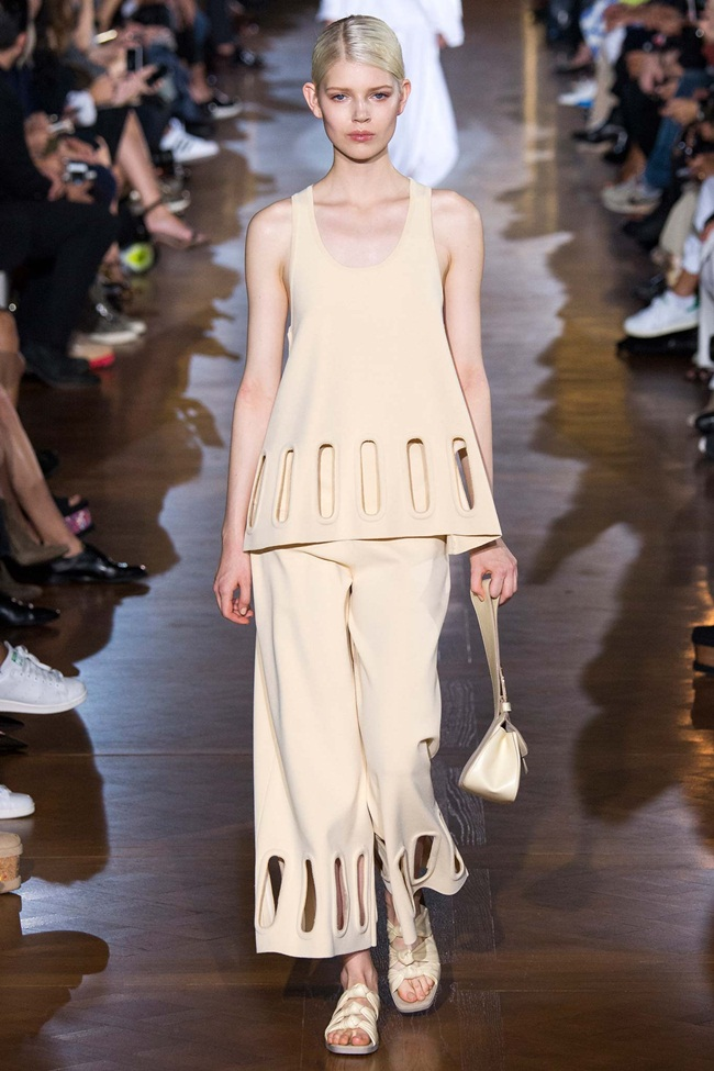 Stella McCartney 2015 SS Creamy Colored Top and Wide Leg Pants Twin Set on Runway