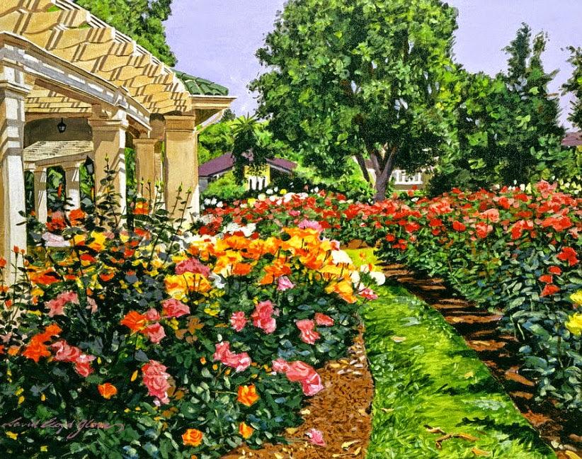 Cuadros modernos oleos de patios de casas con flores - Oleos de jardines ...