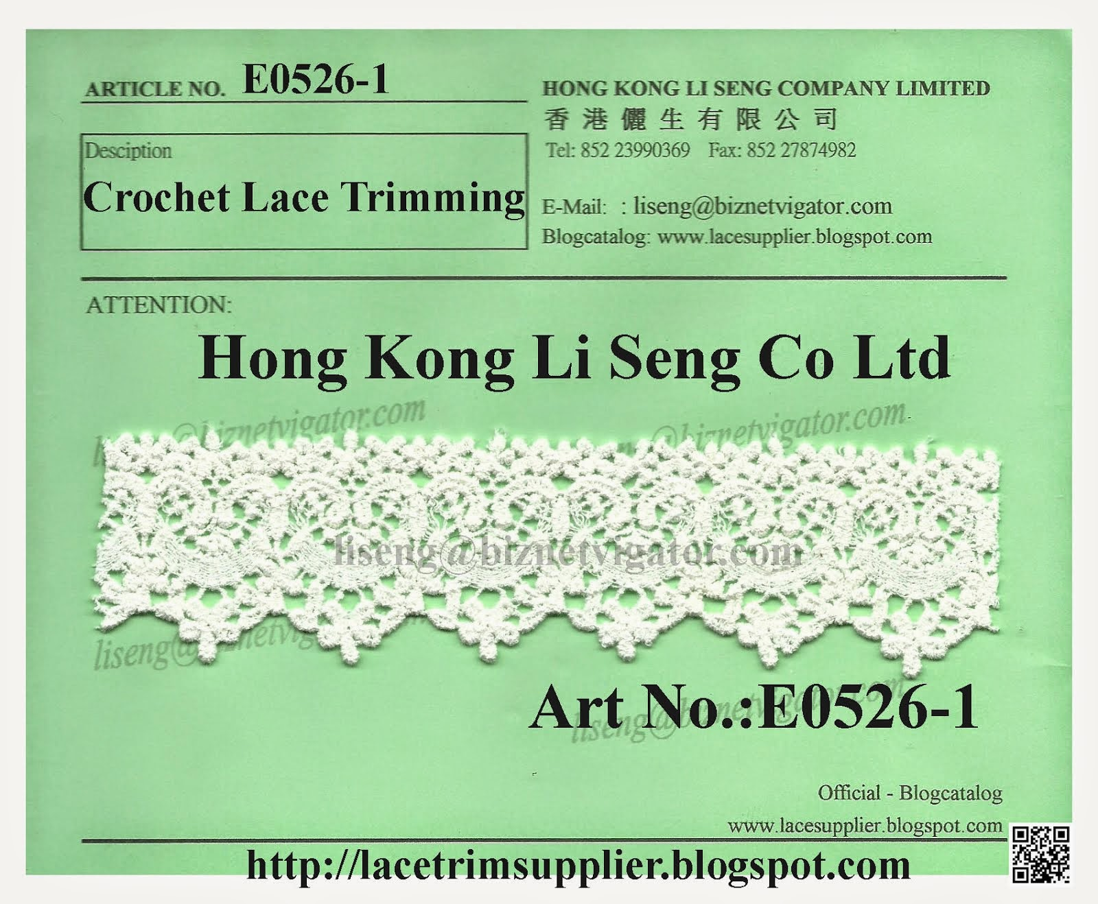 Crochet Lace Trimming Manufacturer and Supplier - Hong Kong Li Seng Co Ltd