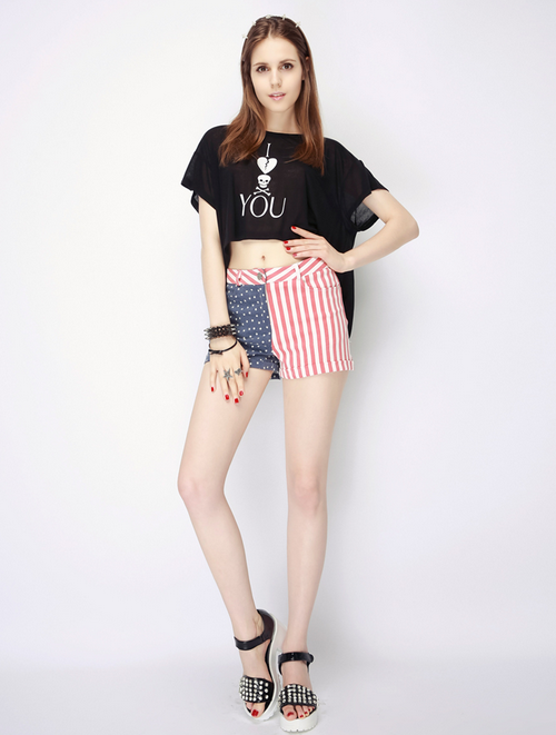 American Flag Cuffed Shorts