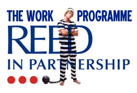 Reed in Partnership Work Programme ball and chain protest