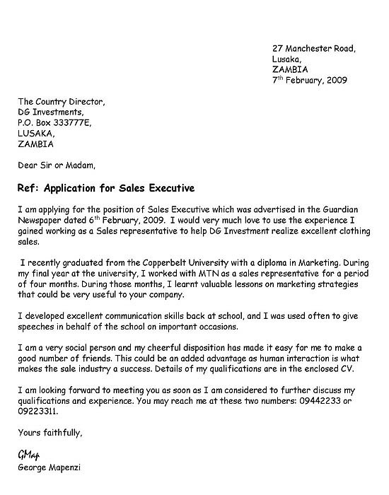 letter of application for a job vacancy
