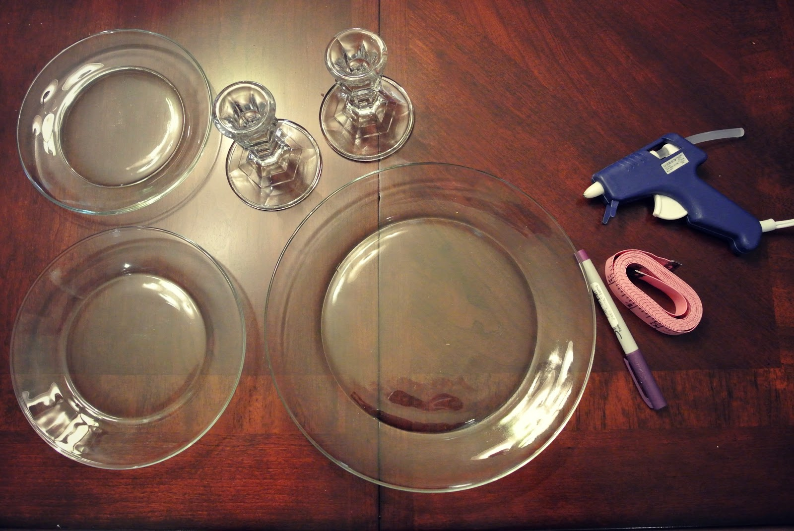 Measure the middle of each plate and mark & WILDEYES: DIY TIERED JEWELRY STAND