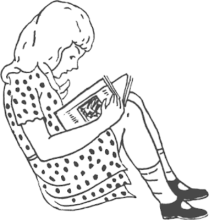Niña leyendo un libro. Dibujo para colorear - Portal Escuela
