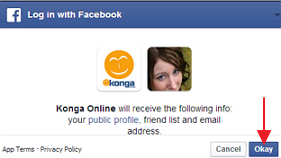Konga request prompt for Facebook signup