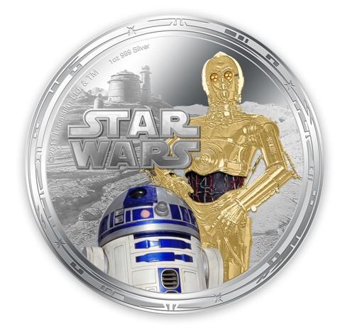 duit syiling Zew Zealand dengan gambar mitos Star Wars