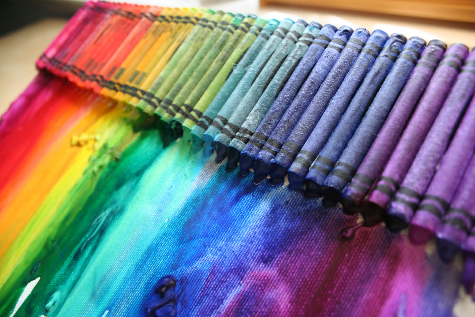 Pink and green mama make a melted rainbow crayon canvas for How to melt crayons on canvas