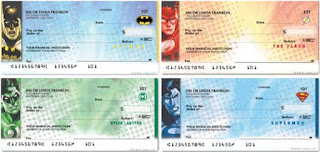 DC Super Heroes checks featuring Batman, Flash, Green Lantern and Superman