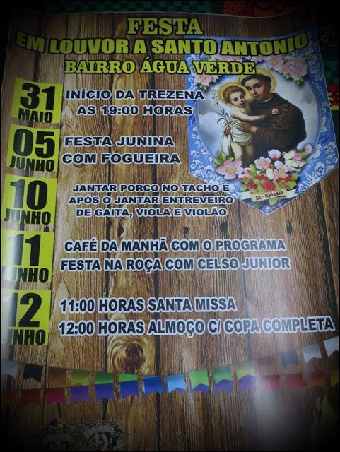 Convite - Grandiosa Festa em Louvor a Santo Antonio no Bairro Água Verde em Laranjeiras do Sul