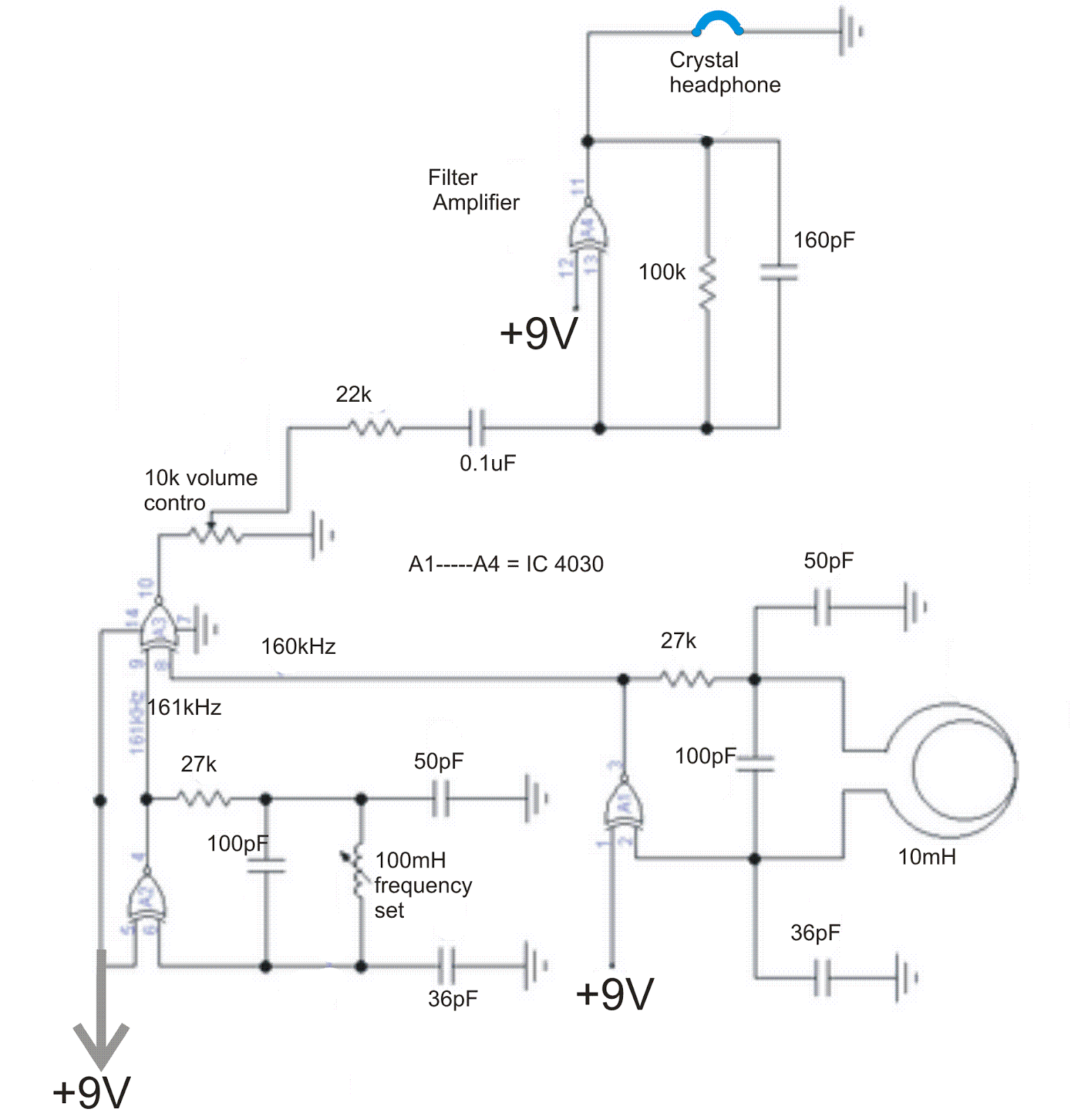 Simple Metal Detector Circuit Electricalcorecircuits 3a Switching Voltage Regulator Schematic Diagram A Low Sensitive Type Can Be Powered By Battery 3 To 15v And May Constructed Employing Four Exclusive Or Gates From Cmos Integrated 4030
