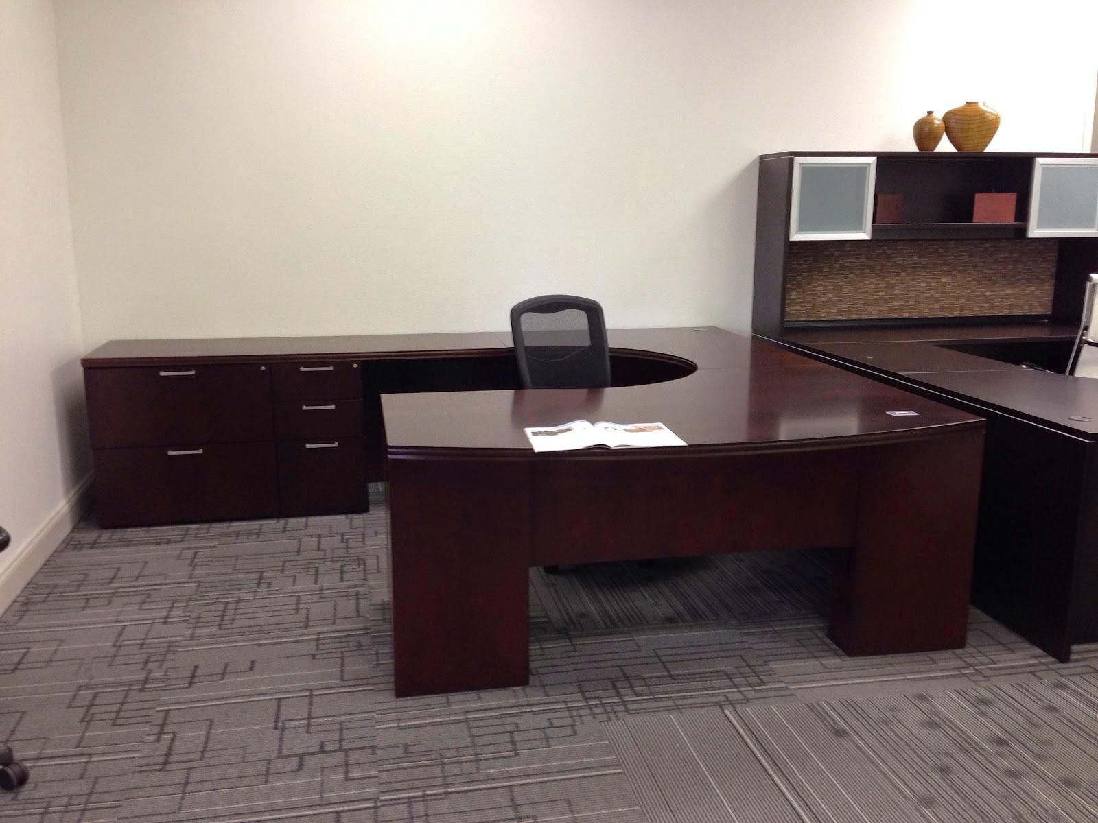 Used UShape OFS Wood Veneer Set Office Furniture Orlando Fl S64