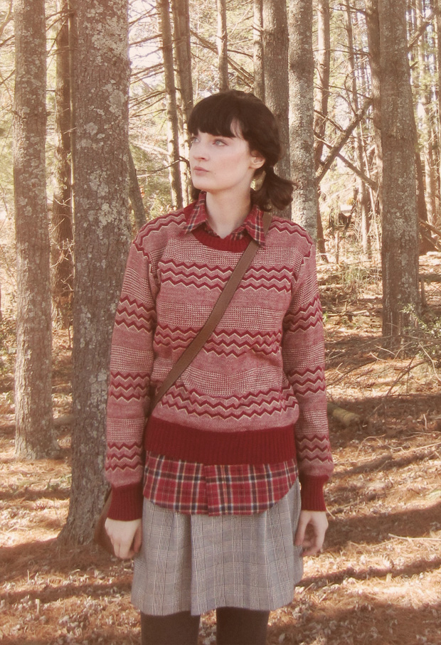 Red sweater, red plaid shirt