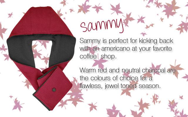 Stellar hoods, sammy, hoodie, hood scarf, hooded scarf, hoodie scarf, hood-scarf, Wynzie Chai, red scarf