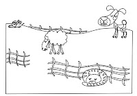 Dog, cat, sheep, and mouse in farm animals coloring book by Robert Aaron Wiley for Microsoft Office Online