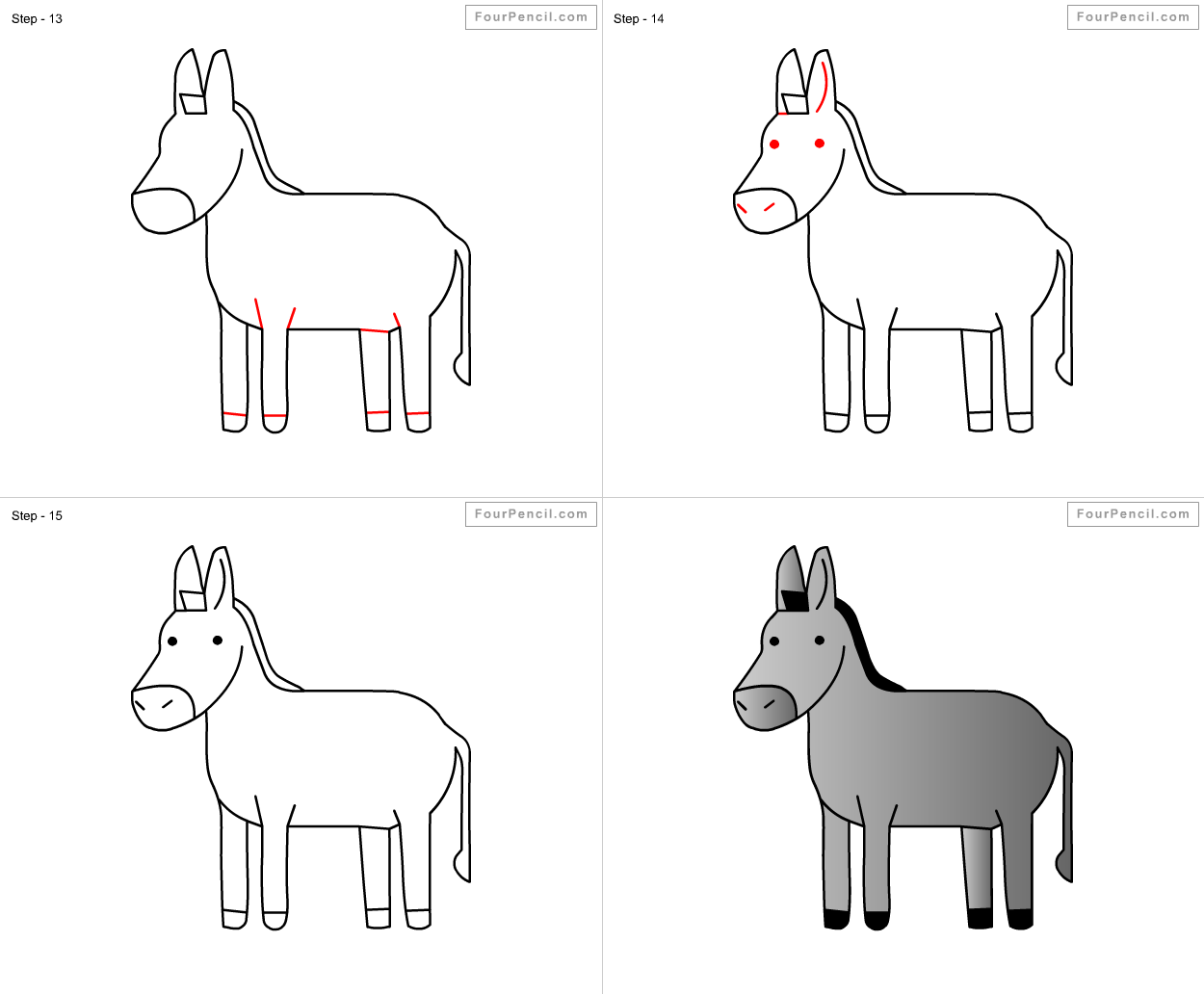 Donkey drawing for kids