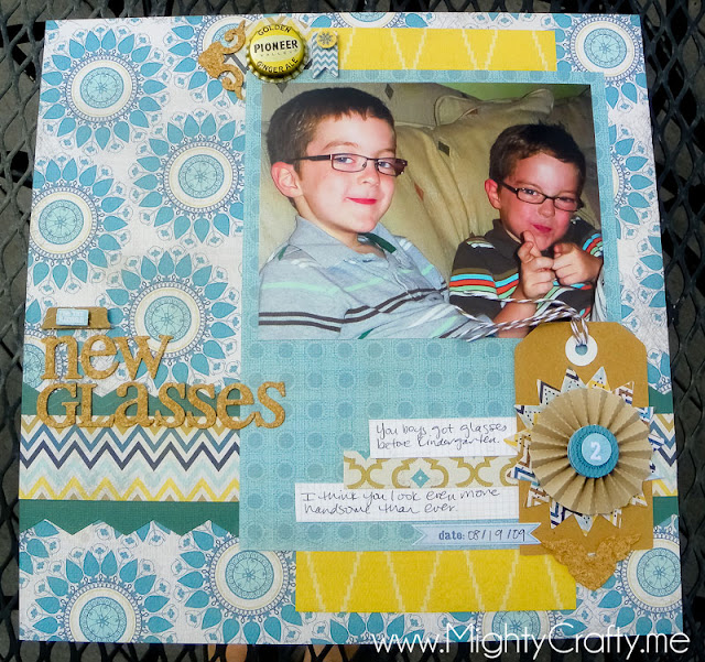 June 2012 sketch layout for Boys Rule Scrapbook Kit - MightyCrafty.me