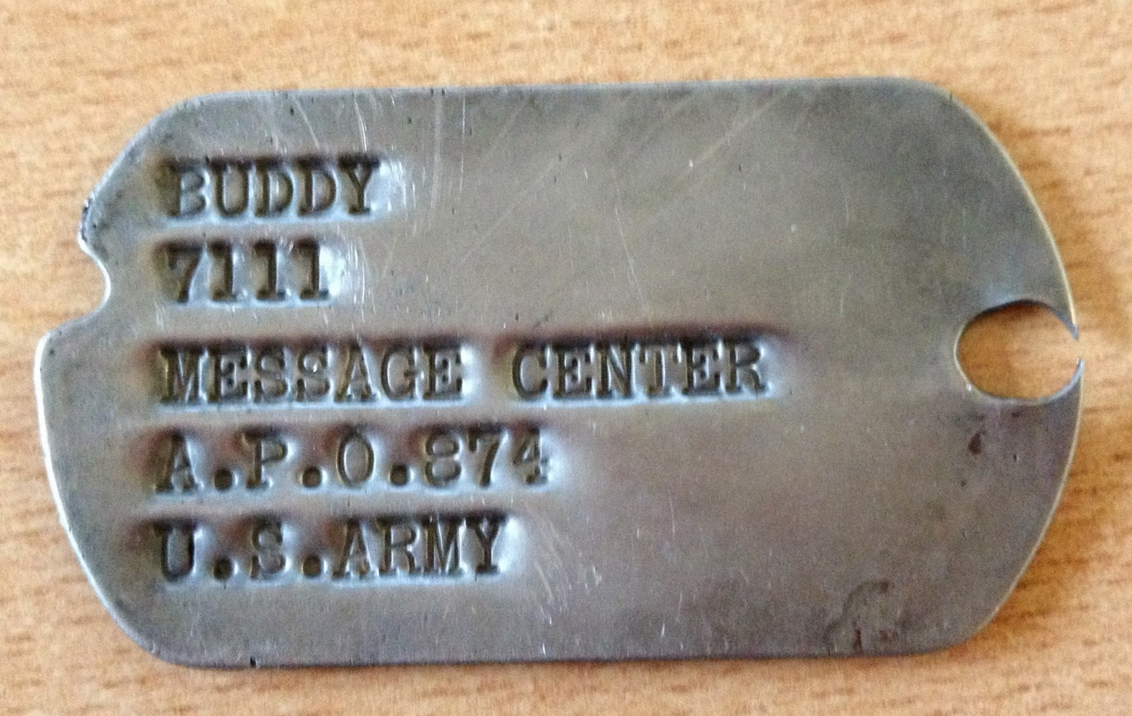 Found Dog Tag Buddy U.S. Amry