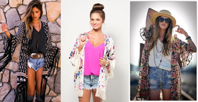 Kimono com short jeans
