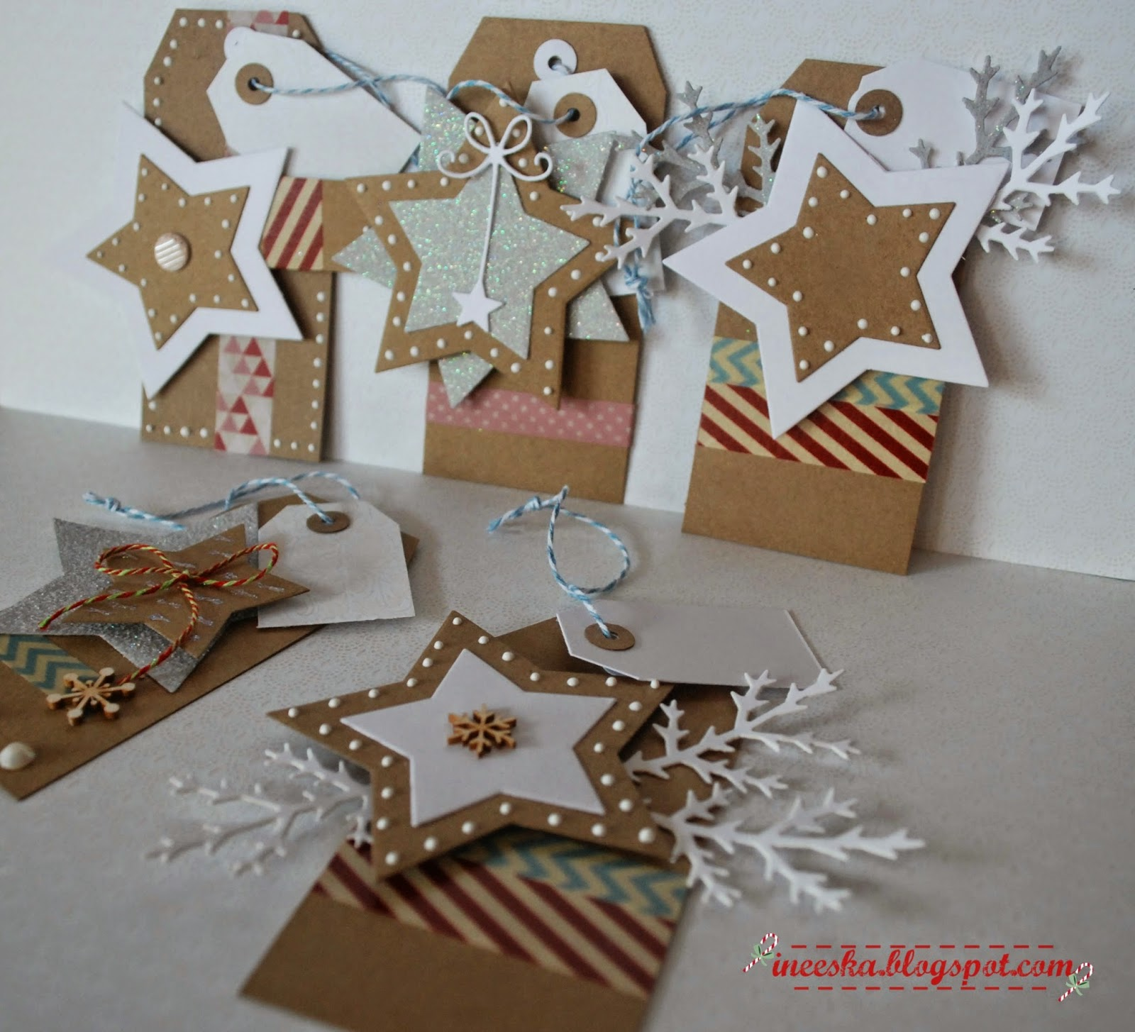 zawieszki do prezentów, tagi świąteczne,ineska, ineeska , ineska kraft