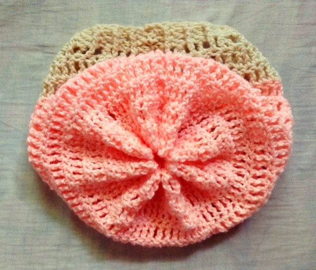 crown-stitched crochet slouch hat