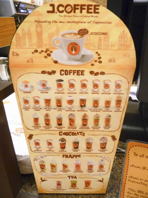 J.Co hot and cold drinks list