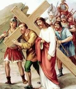 Jesús es ayudado por Simón de Cyrene
