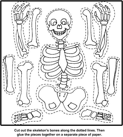 Printable Halloween Skeleton Cut Out Coloring Download