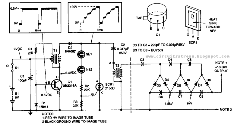 build a 13kv high voltage power supply circuit diagram