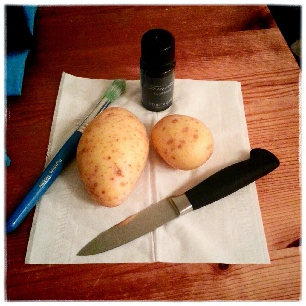 potato print textiltryck potatis mönster sy