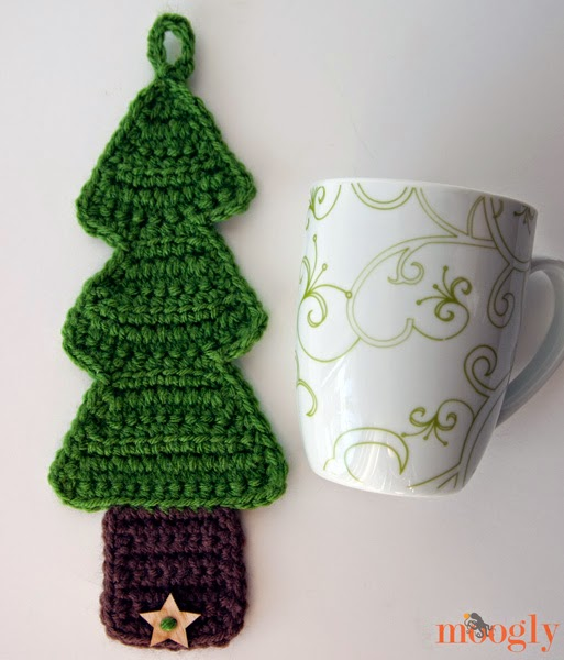 Christmas Tree Free Crochet Pattern Coffee Cozy