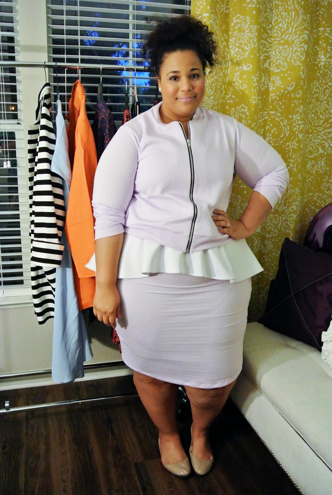 Plus size fashion, boohoo, lavender jacket, lavendar plus size skirt
