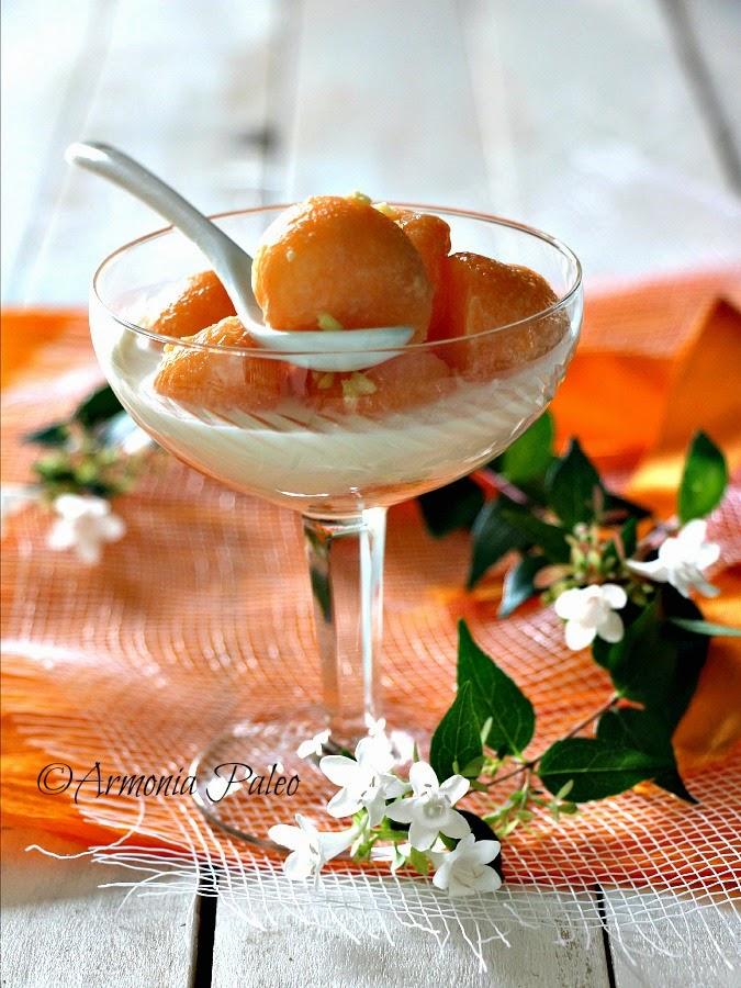 Sfere di Melone in Salsa di Cocco e Zenzero