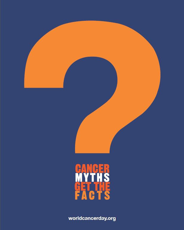 World Cancer Day poster - big question mark - cancer myths get the facts