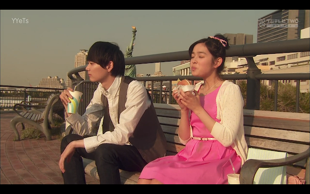 Naoki and Kotoko eat dinner together on their accidental date.