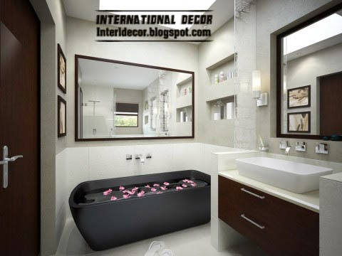 small bathroom decorating ideas and designs, black bathrub