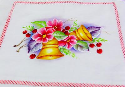 """""""pintura tecido sinos de natal e flores"""""""