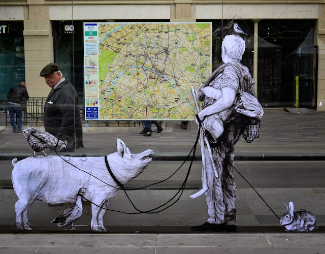 "Constantly busy on the streets of Paris, French artist Levalet brought to life another wonderful piece which is entitled ""Exodus""."