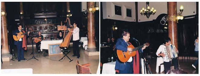 Dardo Noguera en la Confitería La Ideal junto a Mario Ferreyra