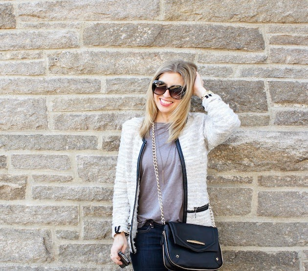 NIC+ZOE jacket, leather trim, payton shoulder bag, danielle nicole, trust jewelry, long bar necklace