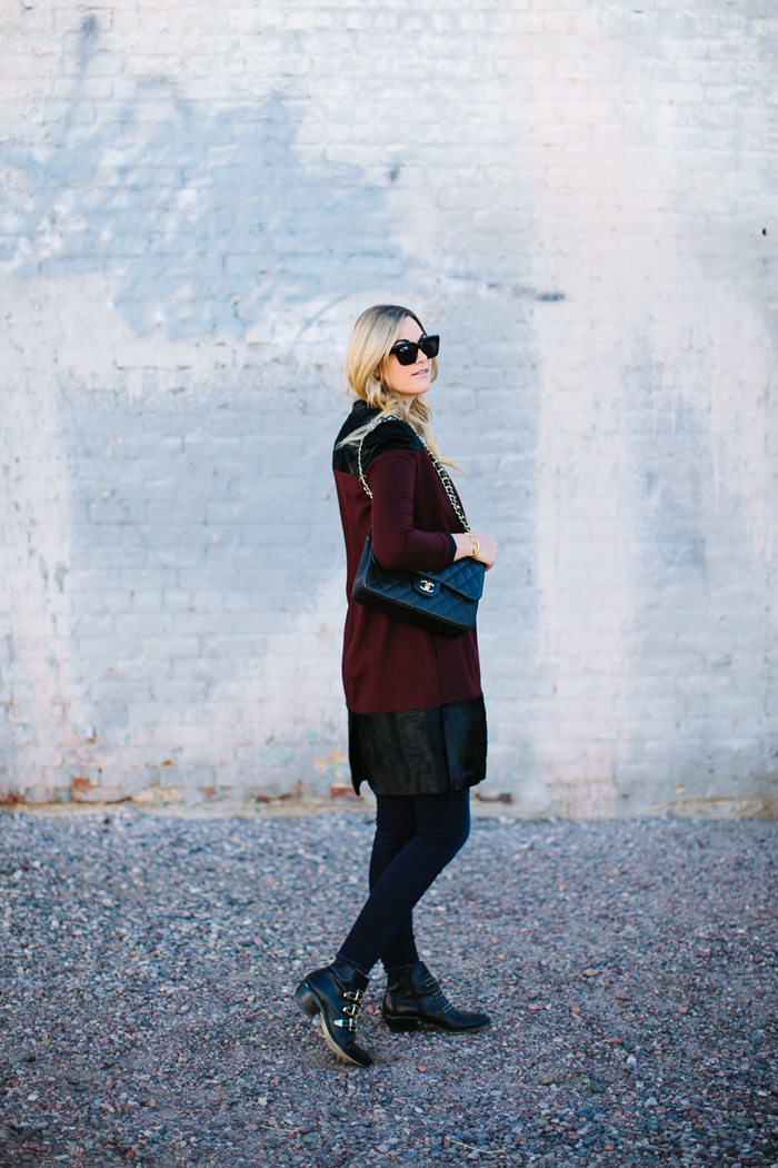 Katherine Kung, Oxblood, Maroon, Cashmere, Horsehair, Paneled, Contrasting, Coat, Outerwear, Fall, Shoemint, Studded, Booties, Boots, Old Navy, Rockstar, Skinny, Jeans, Denim, Chanel, Jumbo, Caviar, Bag, Celine, Sunglasses, Lululemon, Yogi, Tank, Tee, Brandy Pham, Cone, Triangle, Black, Earrings, Gorjana, 3 Disc Necklace, Caitlin Lindquist, A Little Dash of Darling, Fashion, Blog, Arizona, Scottsdale, Phoenix, Outfit Inspiration, Outfit Ideas