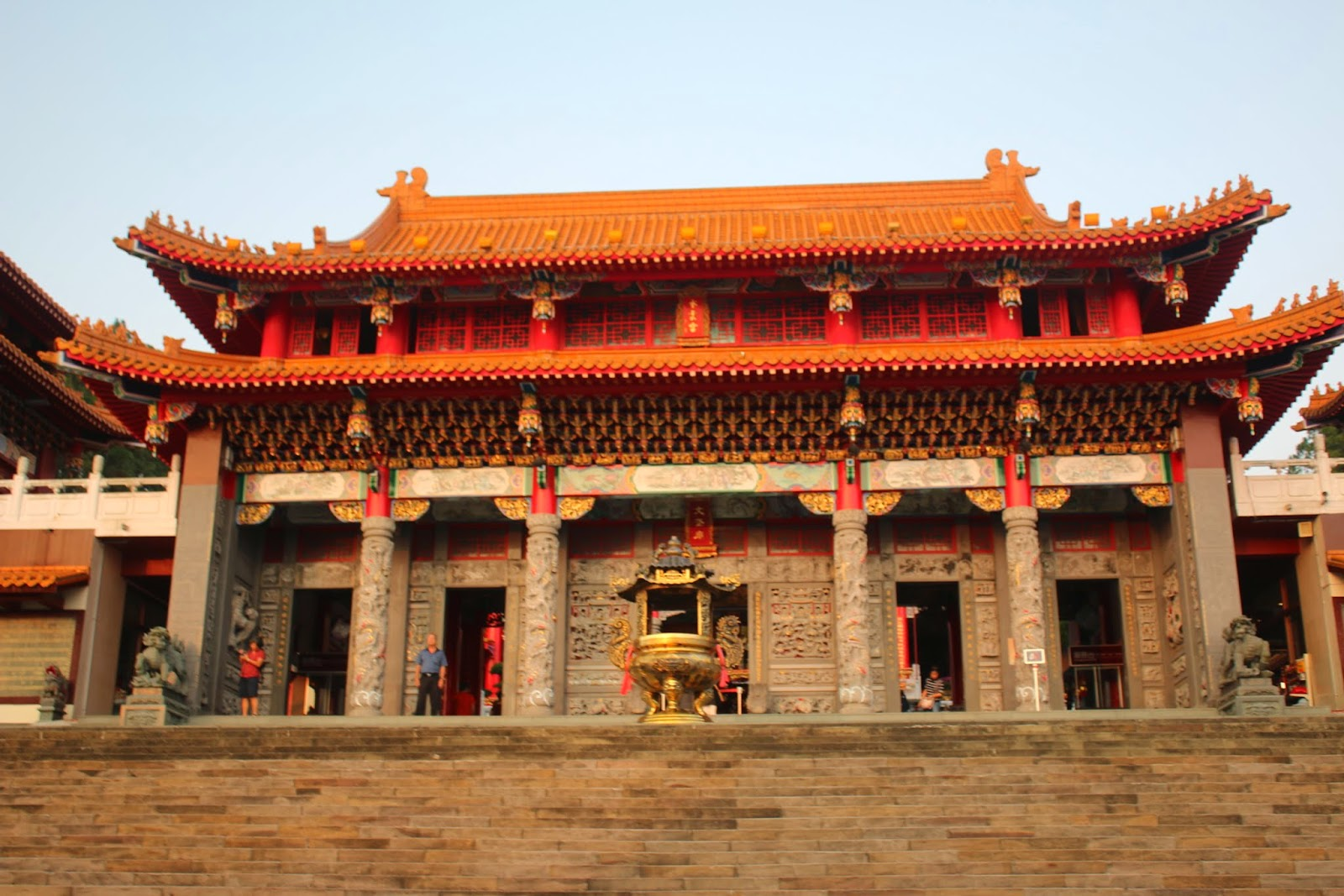 The main temple of Wenwu Temple as you walk through the gate entrance in Puli County of Taiwan