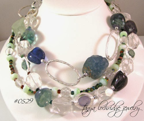 Tanya Lochridge Jewelry Rough & Polished Fluorite & Crystal Quartz Gemstone Necklace