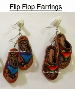 Flip flop earrings in leather and manto