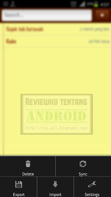 Menu Simply note versi 1.4.3 - aplikasi Android untuk menulis catatan disertai dengan widget (ulasan oleh rev-all.blogspot.com)