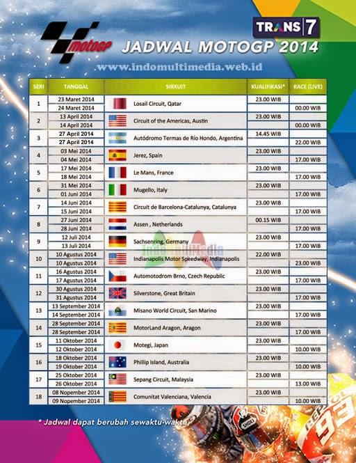 Jadwal MotoGP 2014 Lengkap Jam Tayang Kualifikasi Live Trans7 Terbaru