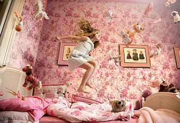 łóżko, skakanie, zabawa